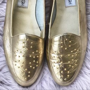 Cara Leigh Gold Studded Vintage Flat Loafers 8